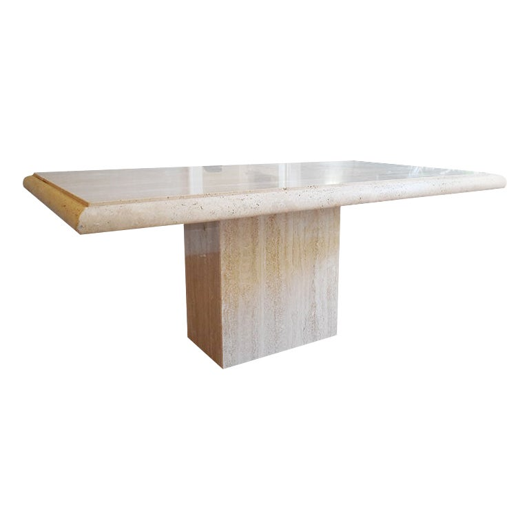 Long Travertine Marble Stone Dining Table Beveled Edges Italy 1970s Seats 6