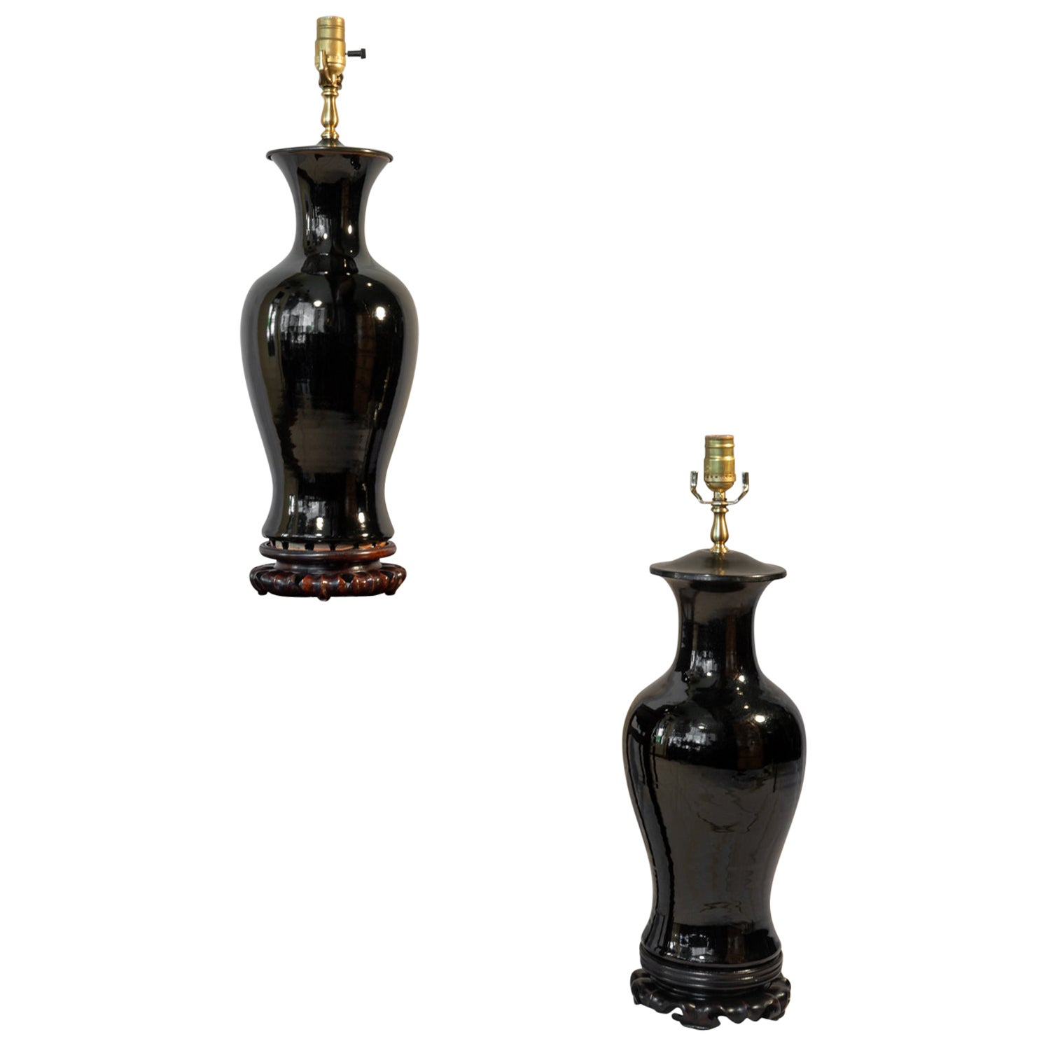 Associated Pair of 19th Century Chinese Porcelain Mirror Black Lamps