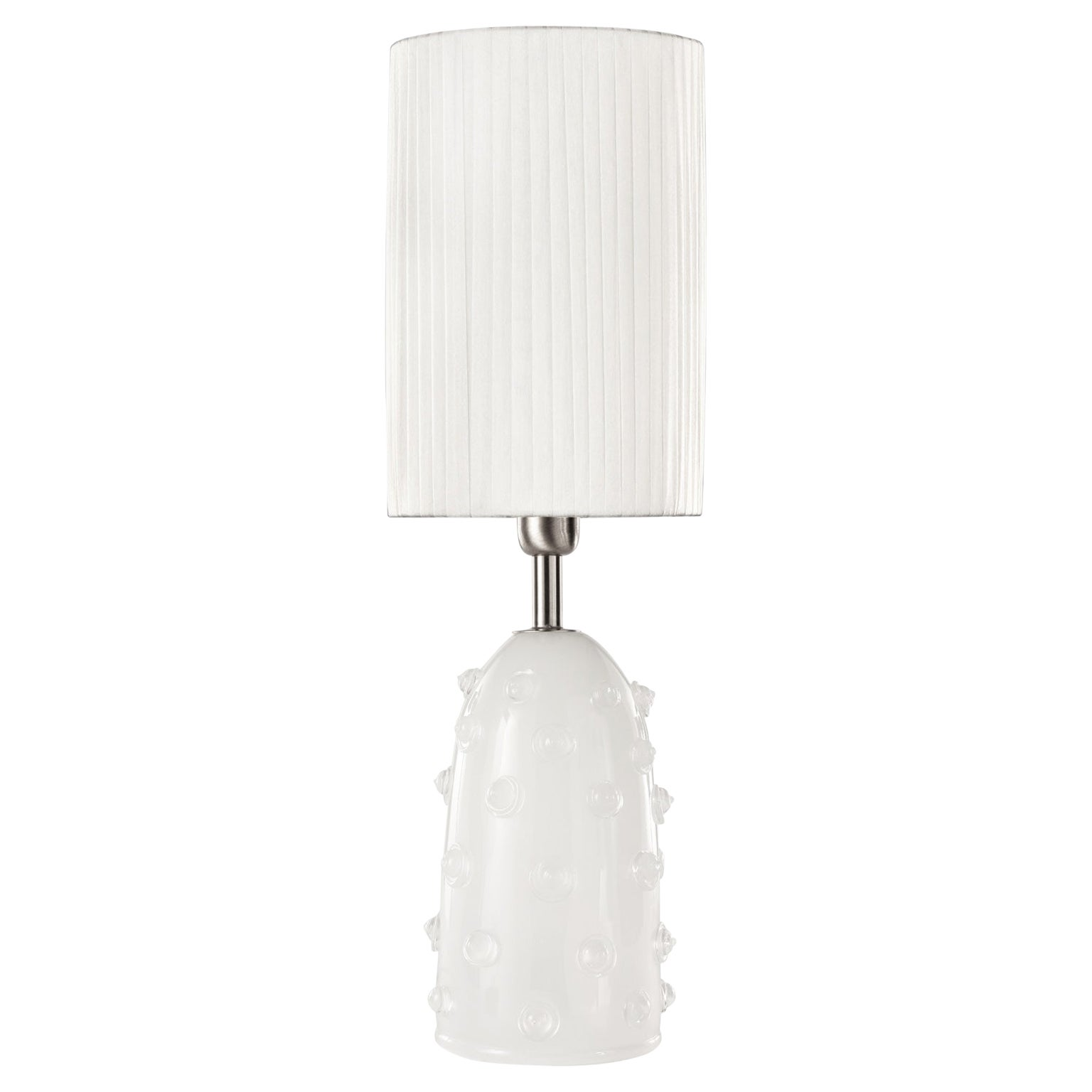 """Artistic Table Lamp Silk Glass Clear """"Borchie"""" Grey Lampshade by Multiforme"""