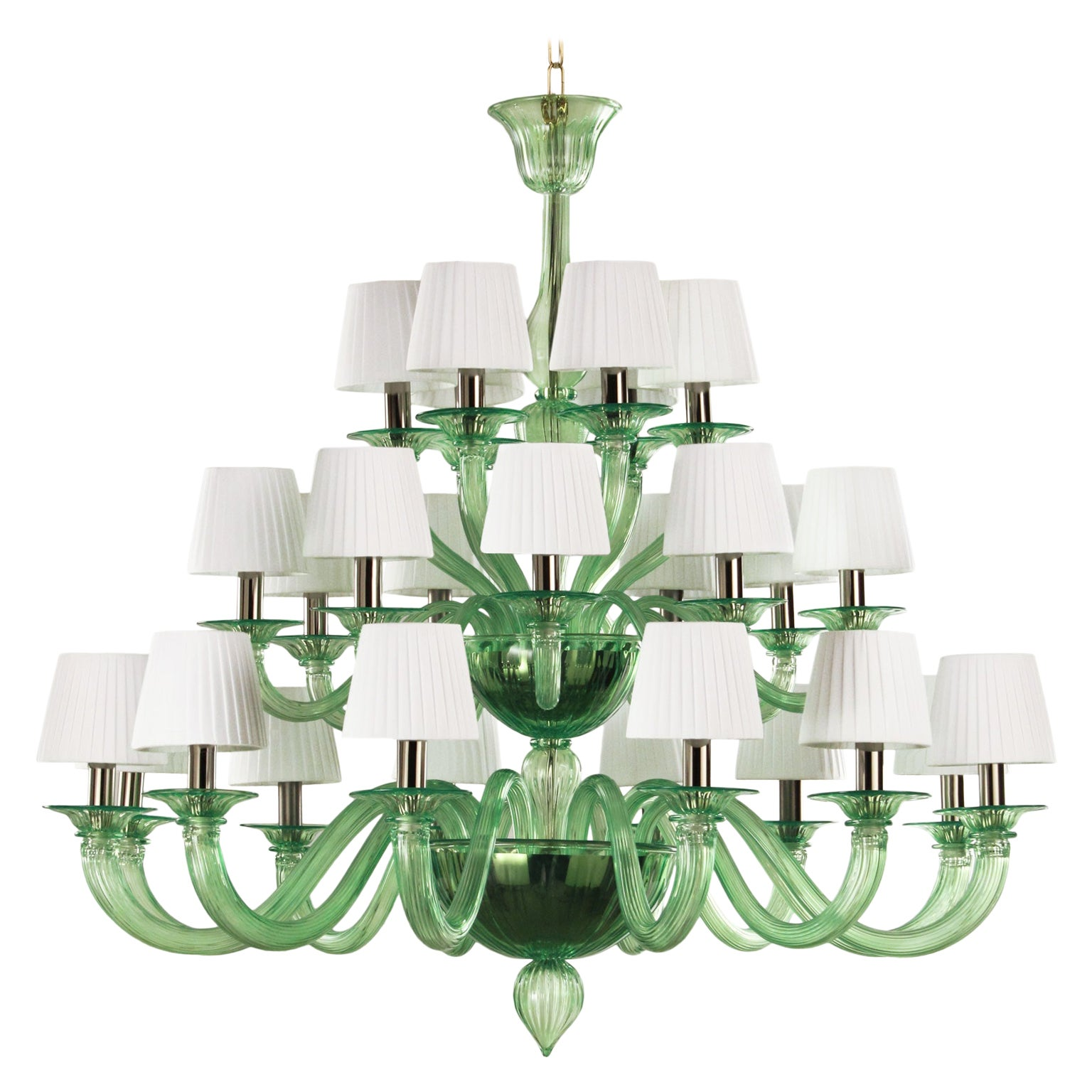 21st Century artistic  Chandelier 12+9+6 arms Green Murano Glass by Multiforme