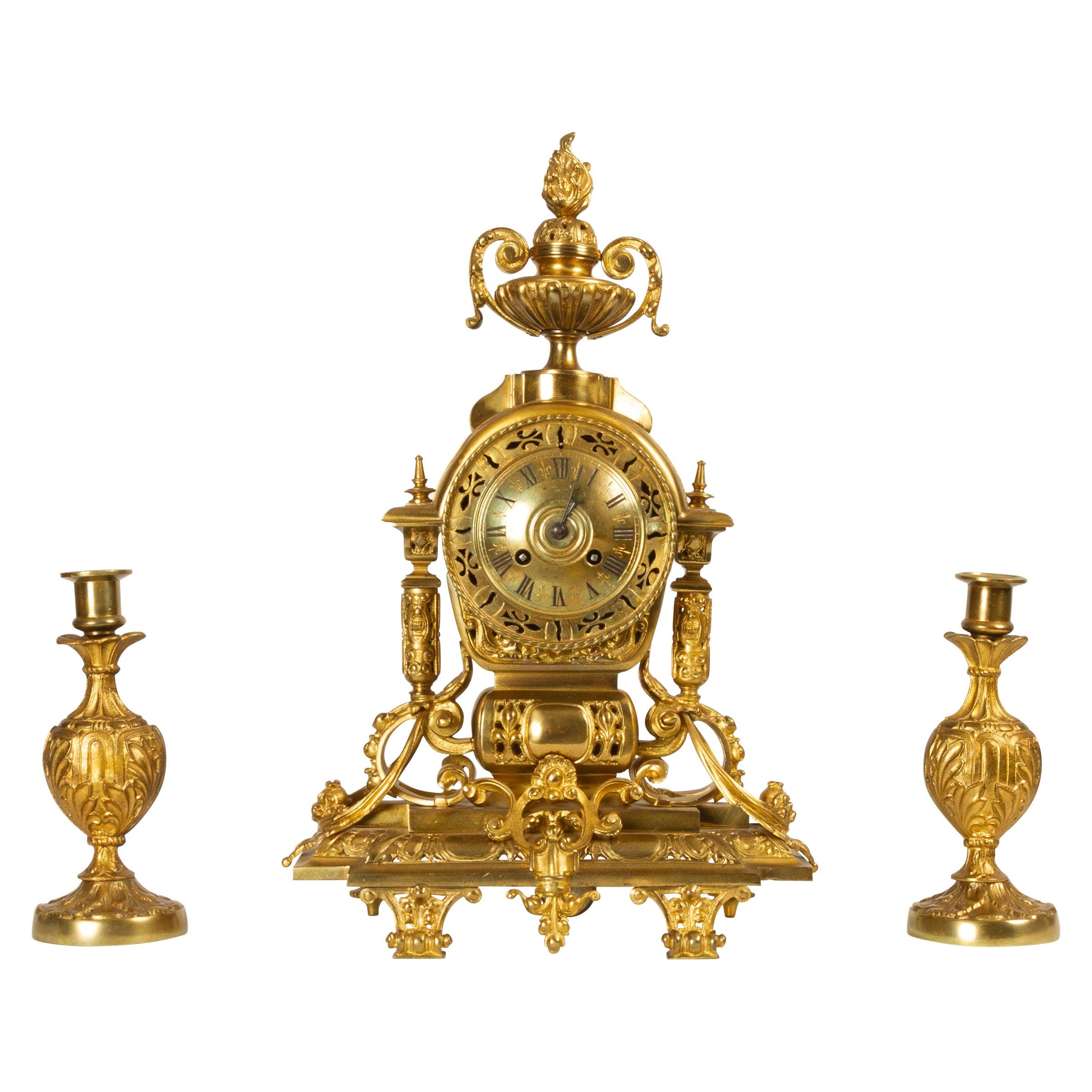 French Louis XVI Gilt Clock Set by Japy Fréres, 1880s