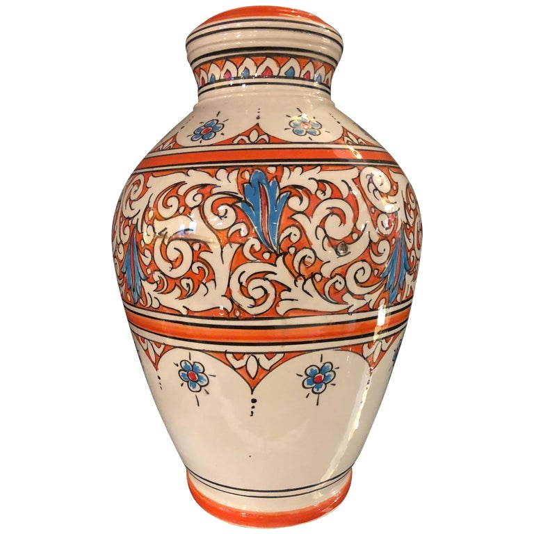 1980s Moroccan Hand Painted Orange, White and Blue Vase