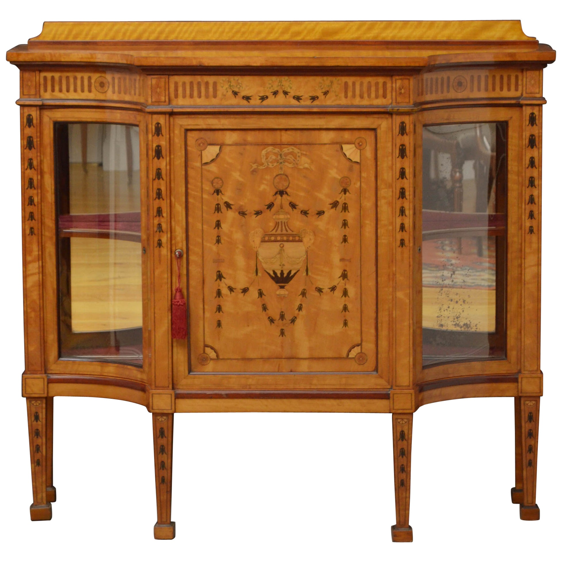 Exceptional Satinwood Cabinet by Maple & Co.