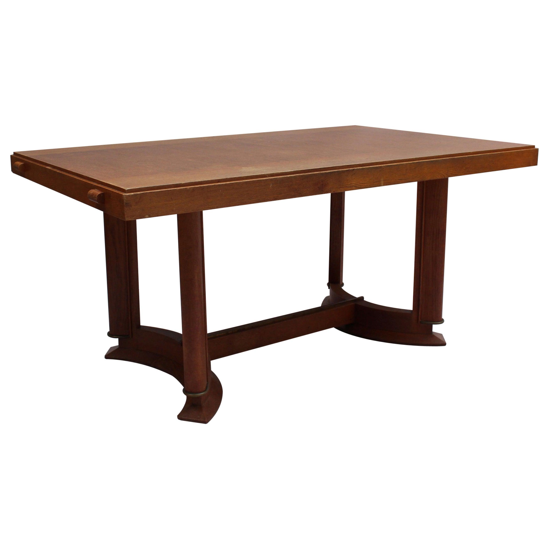 Fine French Art Deco Rectangular Oak Dining Table