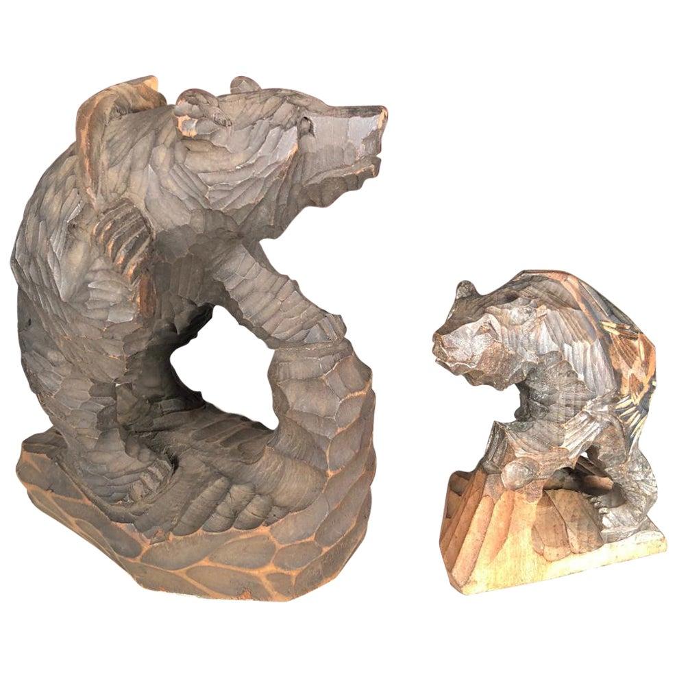 Japanese Bears and Salmon Catch Fine Pair Hand Carved Cryptomeria Wood, Ainu