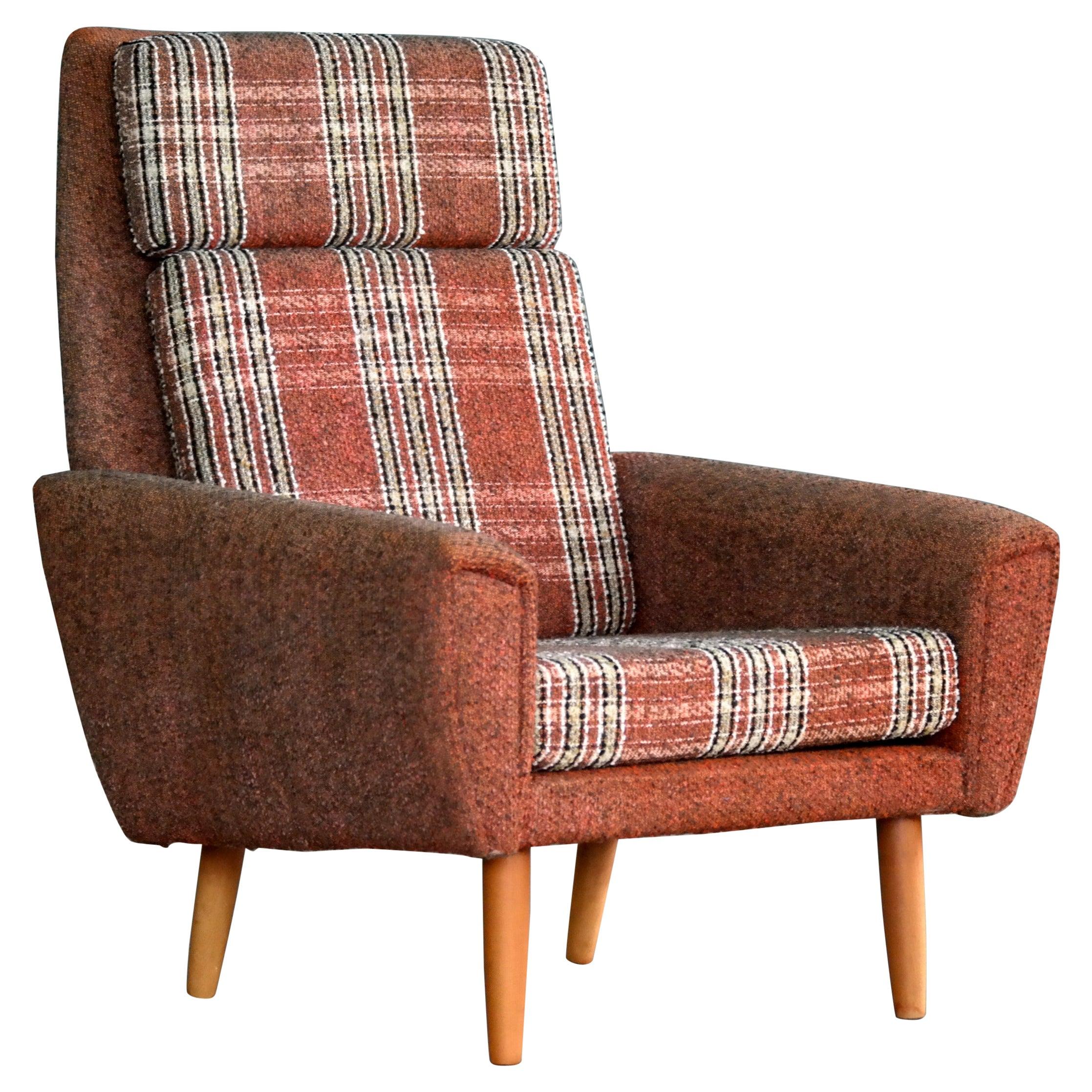 Kurt Ostervig Style Easy Lounge Chair Denmark 1960s Original Fabric