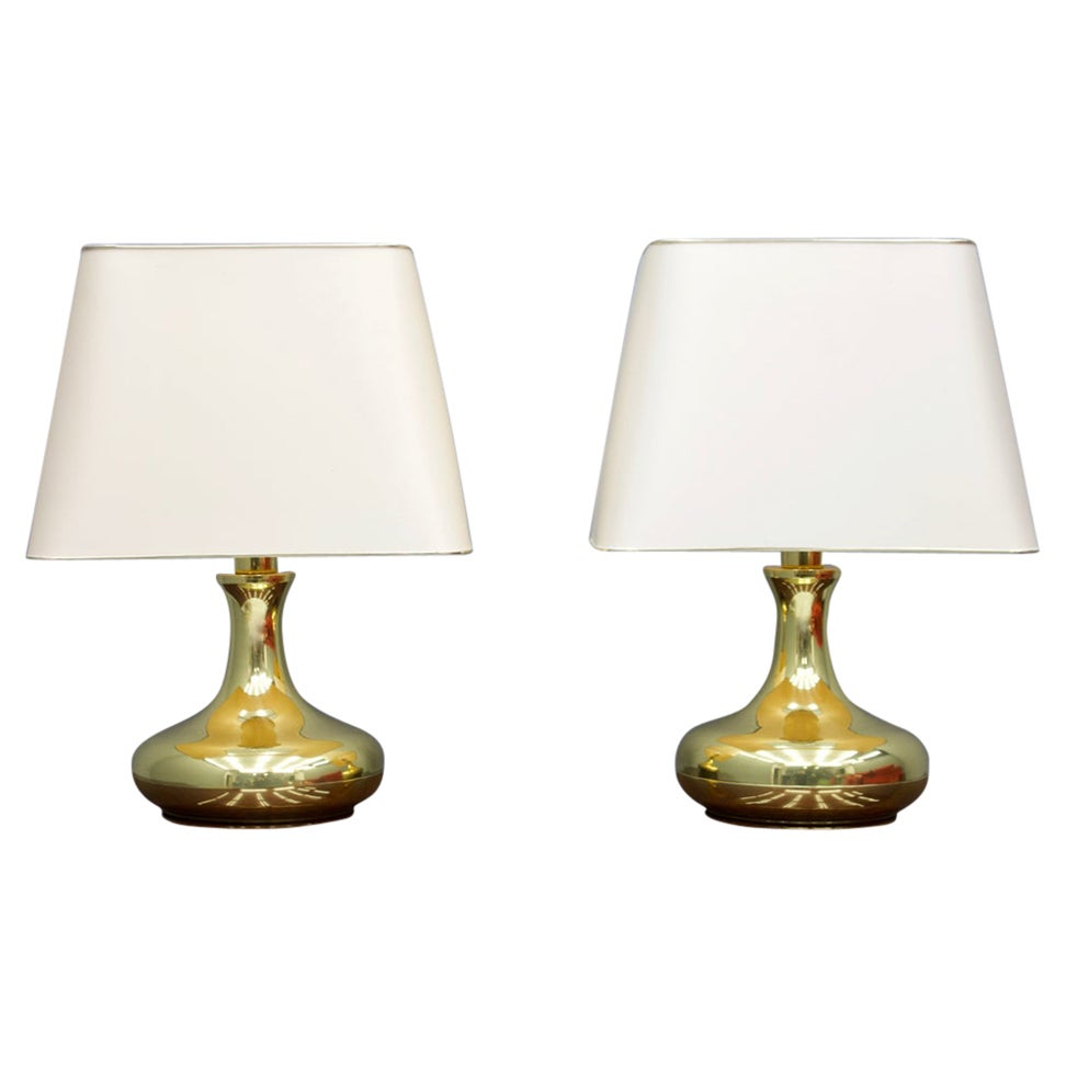 Pair of Brass Tulip Table Lamps, 1970s