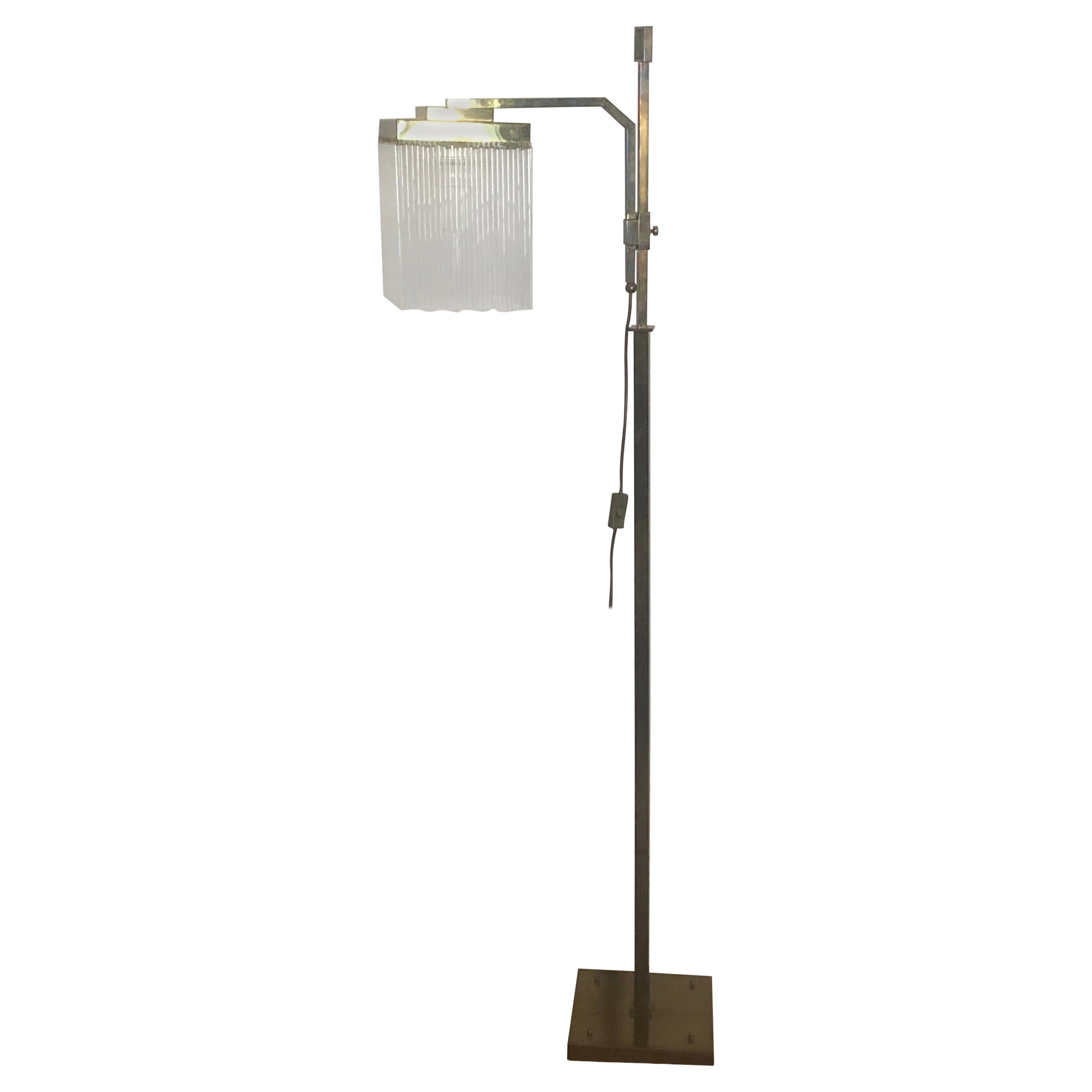 Rare Brass and Glass Floor Lamp From Vienna, Koloman Moser, Otto Wagner Style
