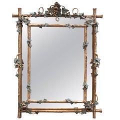 Napoleon III Cushion Style Gilt Mirror Naturalistic Style