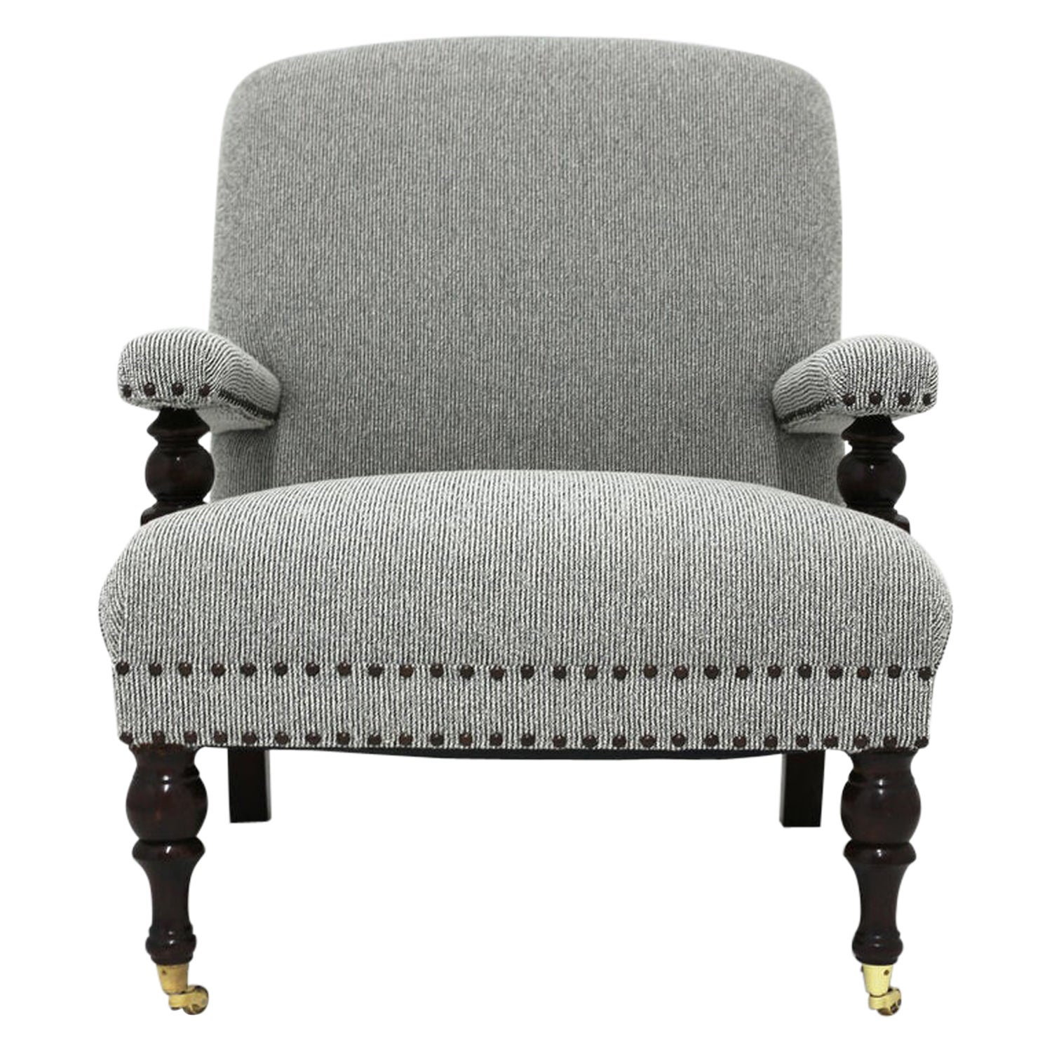 Upholstered Club Chair Shown in Tweed Fabric with Nailhead Trim and Carved