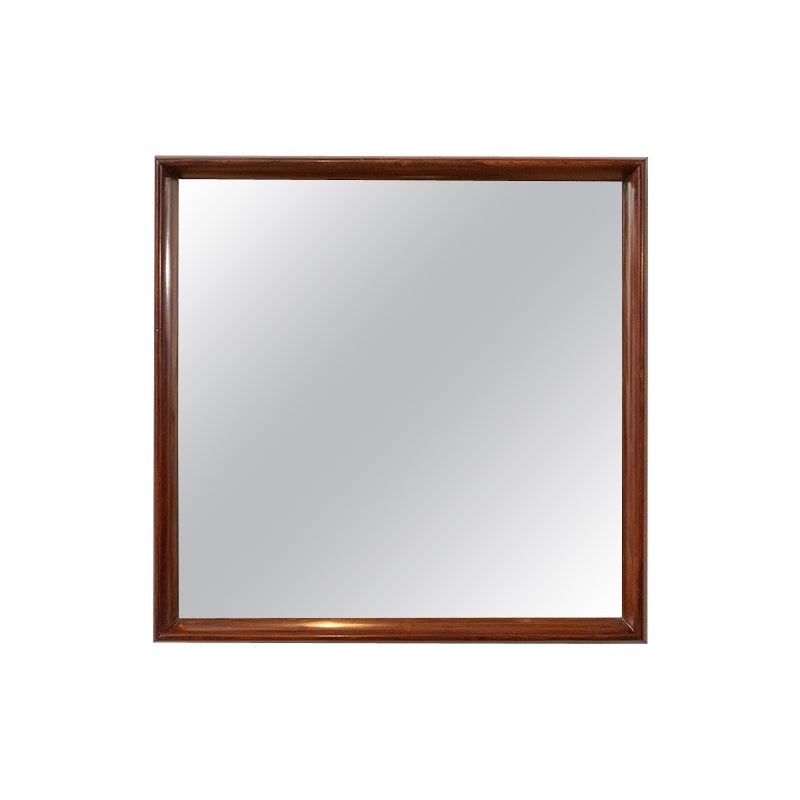 Mid-Century Modern Square Wall Mirror in Solid Wood Frame, Brazil, 1960s