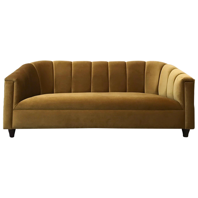 Art Deco Style Sofa, Golden Velvet, by Watt Studio
