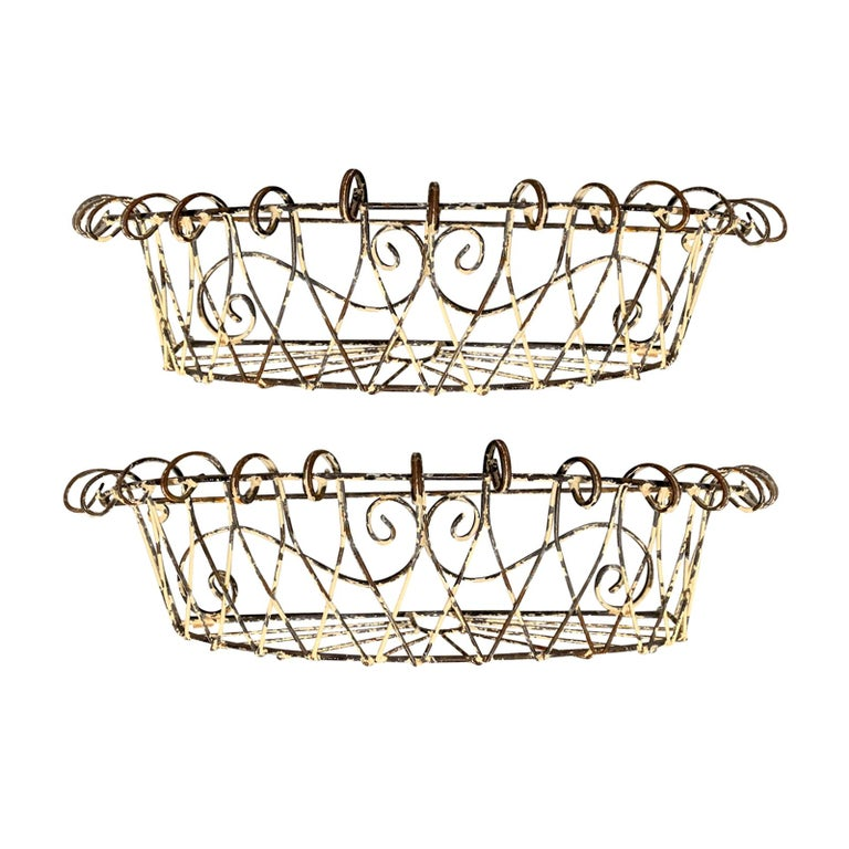 Pair of 20th Century French Iron Wire Planters For Sale