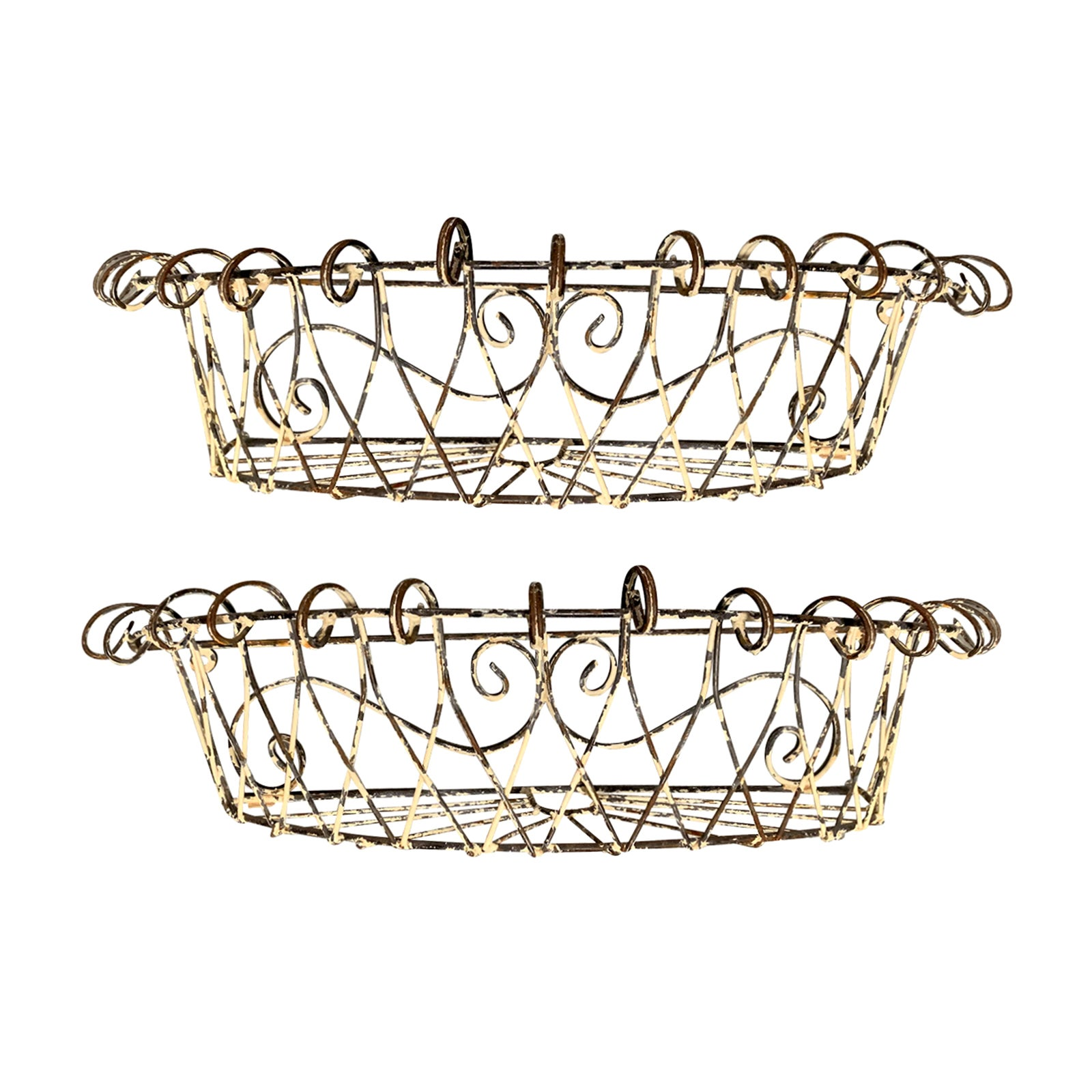 Pair of 20th Century French Iron Wire Planters