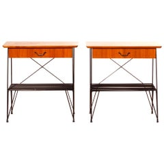 1950s, Set of Teak and Black Metal Nightstands Bedside Tables