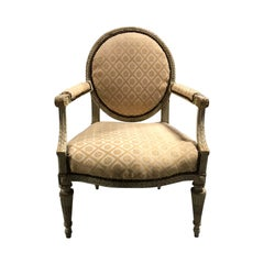 19th-20th Century Louis XVI Style Painted Armchair with Oval Back