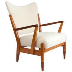 Scandinavian, Modern Lounge Chair Elmwood and Teak Frame with Faux Sheepskin
