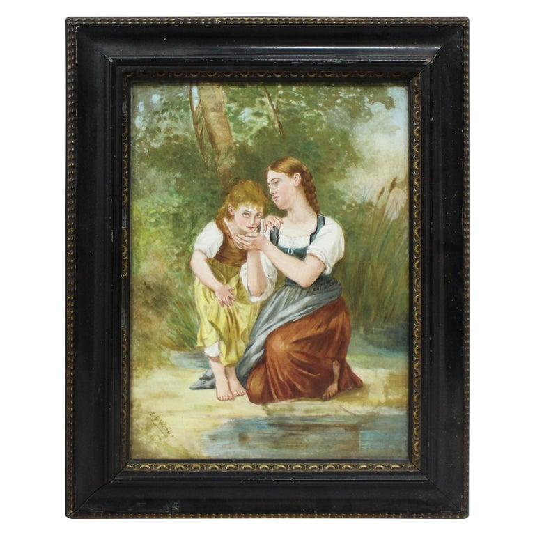 Victorian Painting on Porcelain Set in Ebonized Gilt Frame For Sale