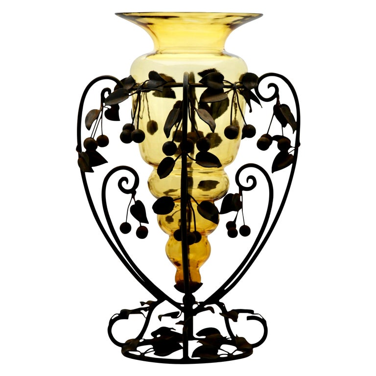 Centrepiece Glass vase & Wrought Metal with Organic Branches, Leaves & Cherries For Sale