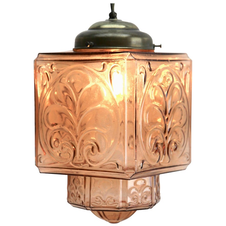 Architectural Pendant Lamp with Foliate Pattern in Rosaline Pink For Sale