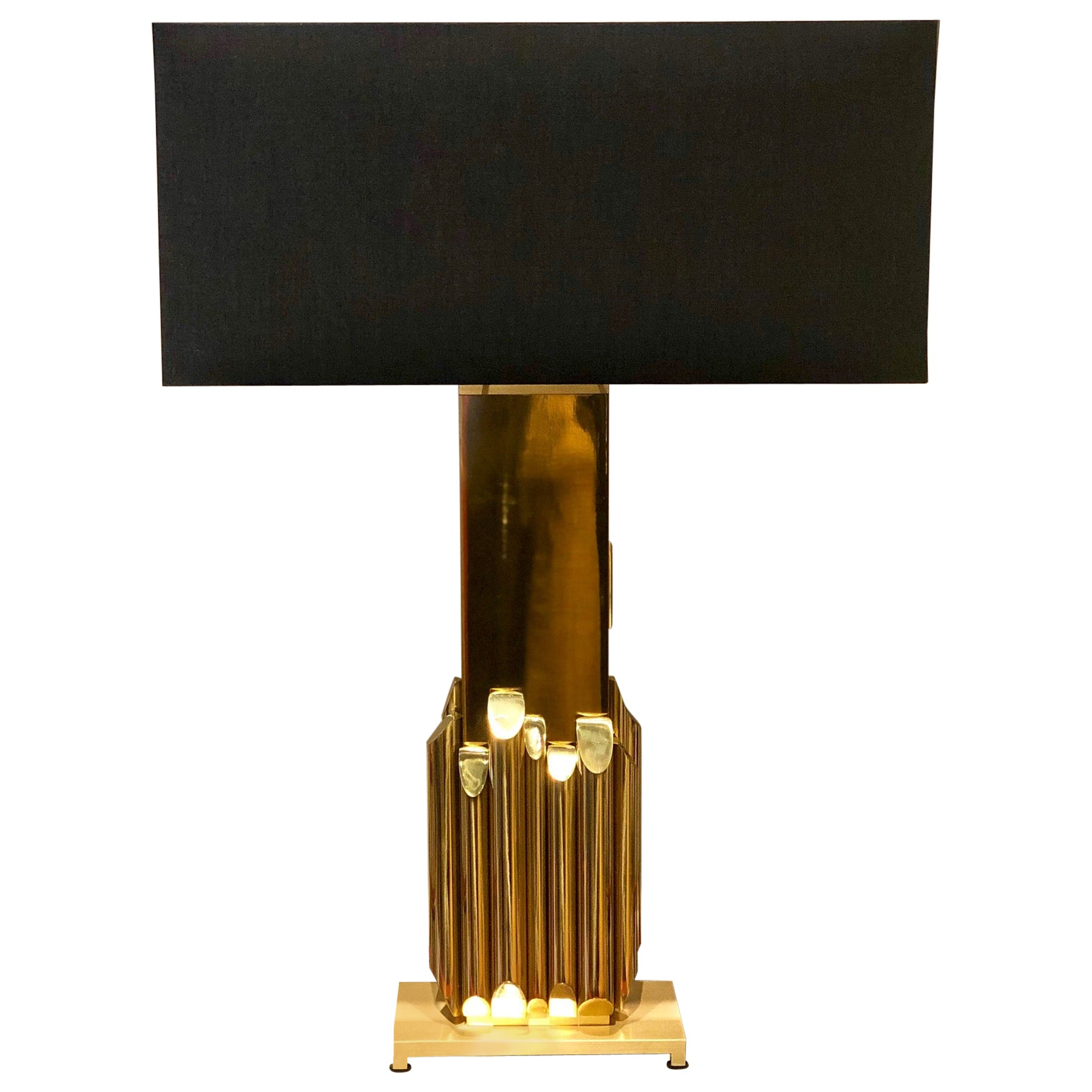 Solid Brass Table Lamp by Luciano Frigerio, Frigerio Desio, 1970s, Made in Italy