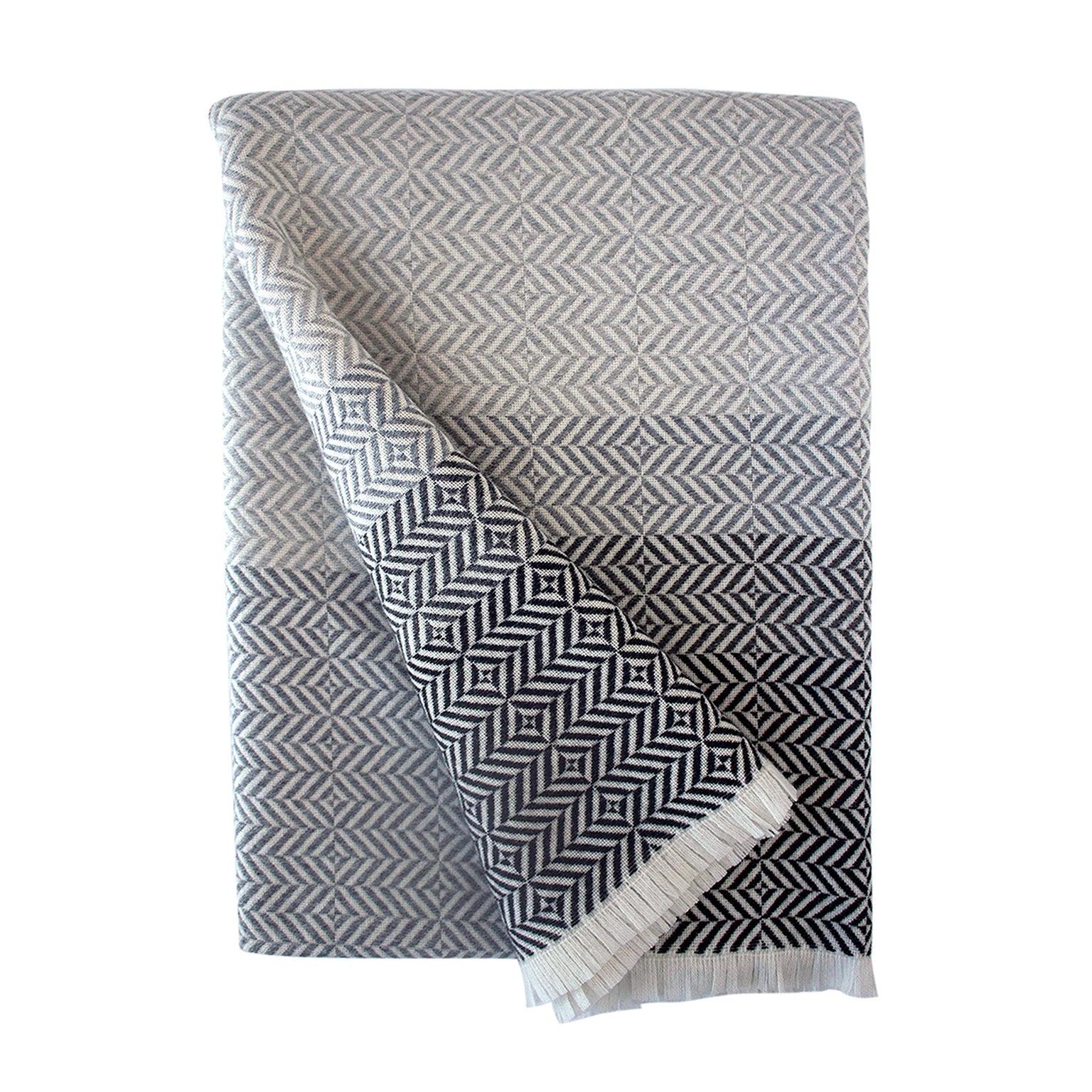 'Uccle' Woven Block Geometric Merino Wool Throw, Pearl Grey