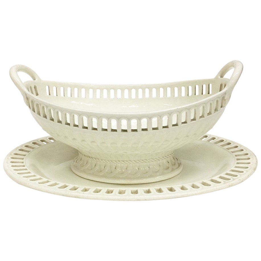 19th Century Wedgwood Creamware Basket and Plate