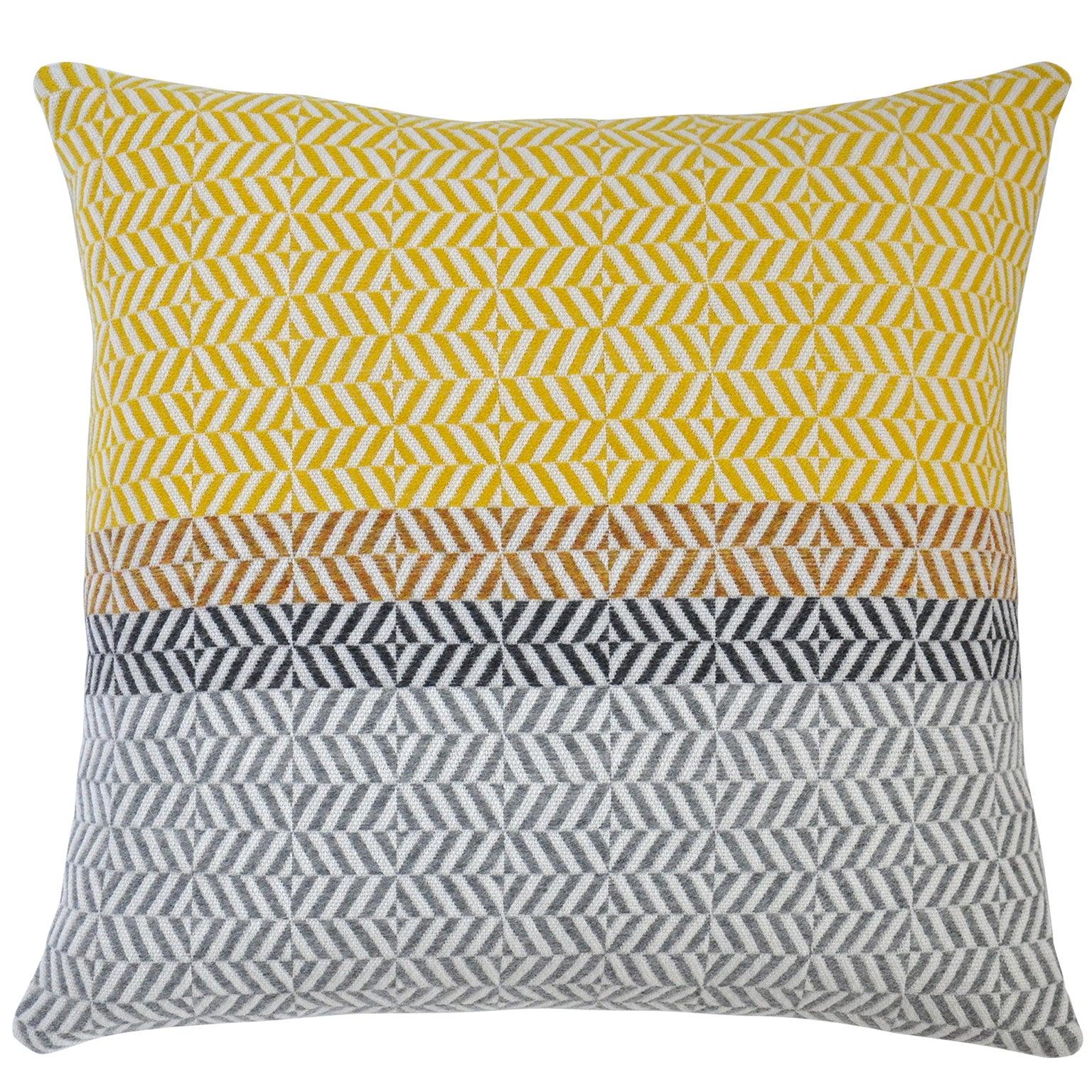 Handwoven 'Uccle' Block Geometric Merino Wool Cushion Pillow, Piccalilli / Grey