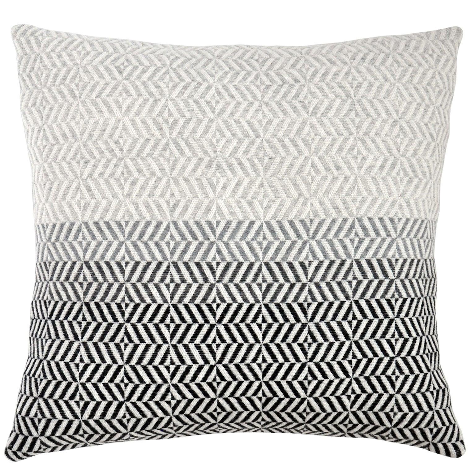Handwoven 'Uccle' Block Geometric Merino Wool Cushion Pillow, Pearl Grey