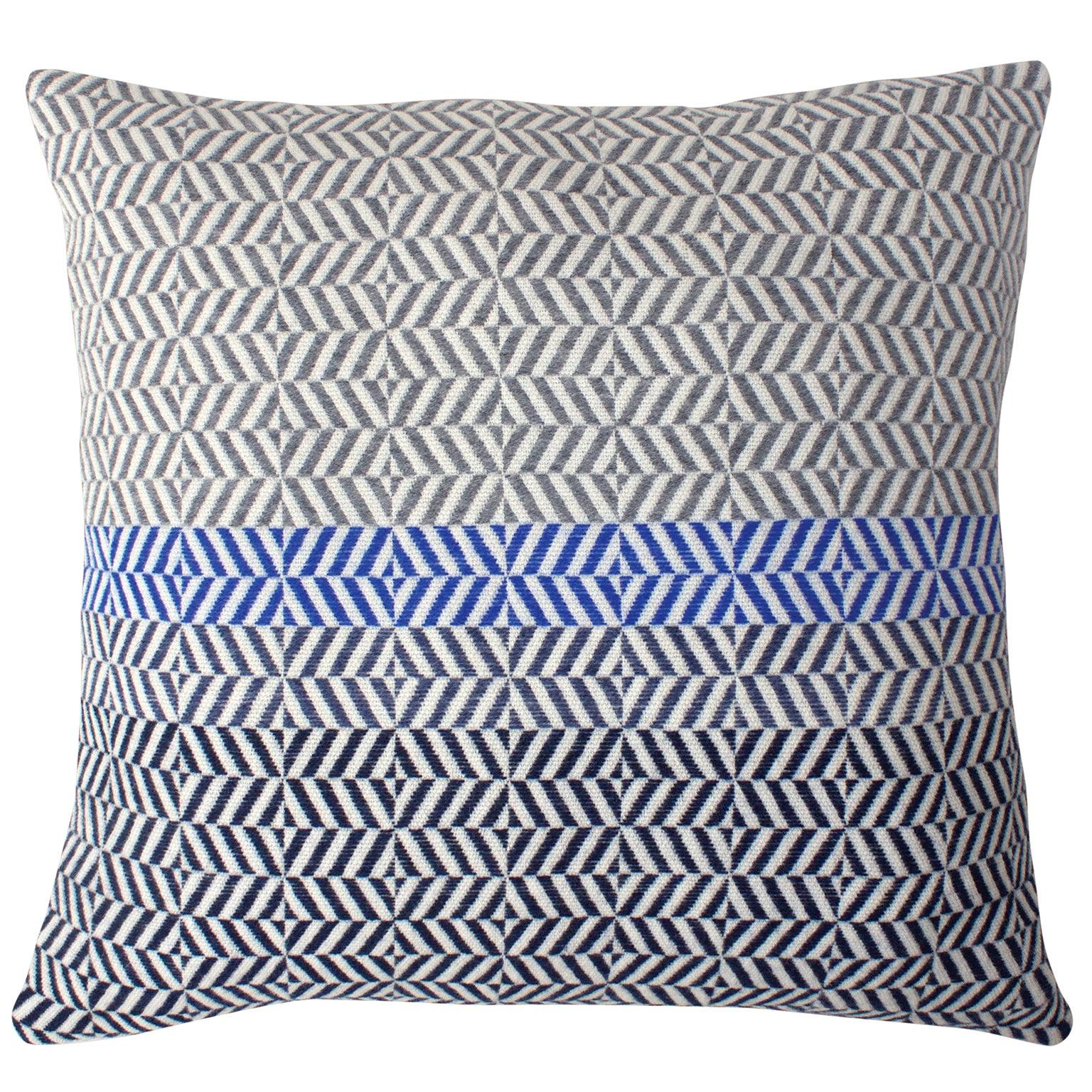 Handwoven 'Uccle' Block Geometric Merino Wool Cushion Pillow, Grey/Blue/Indigo