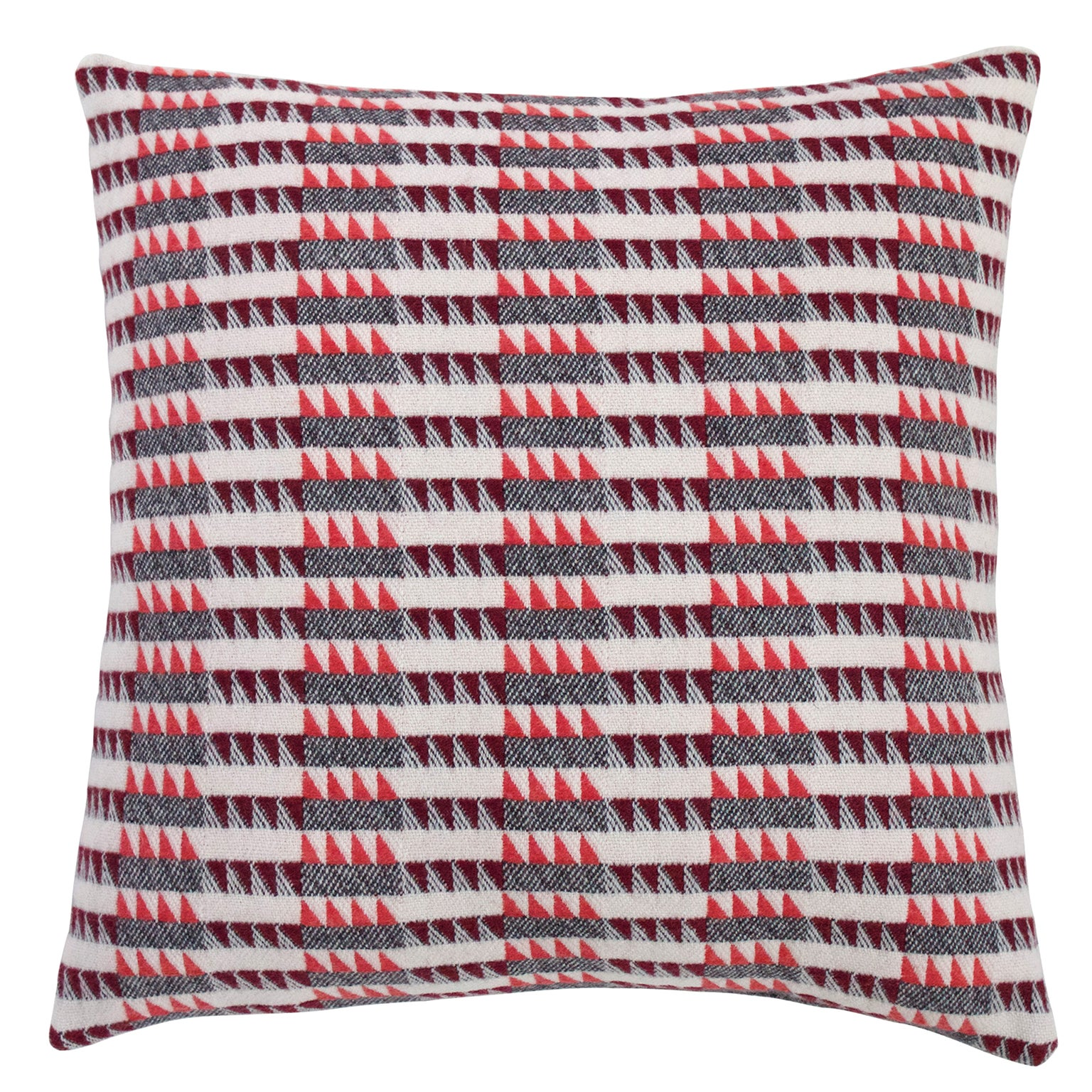 Handwoven 'Ixelles' Geometric Merino Wool Cushion Pillow, Papaya/Burgundy/Grey