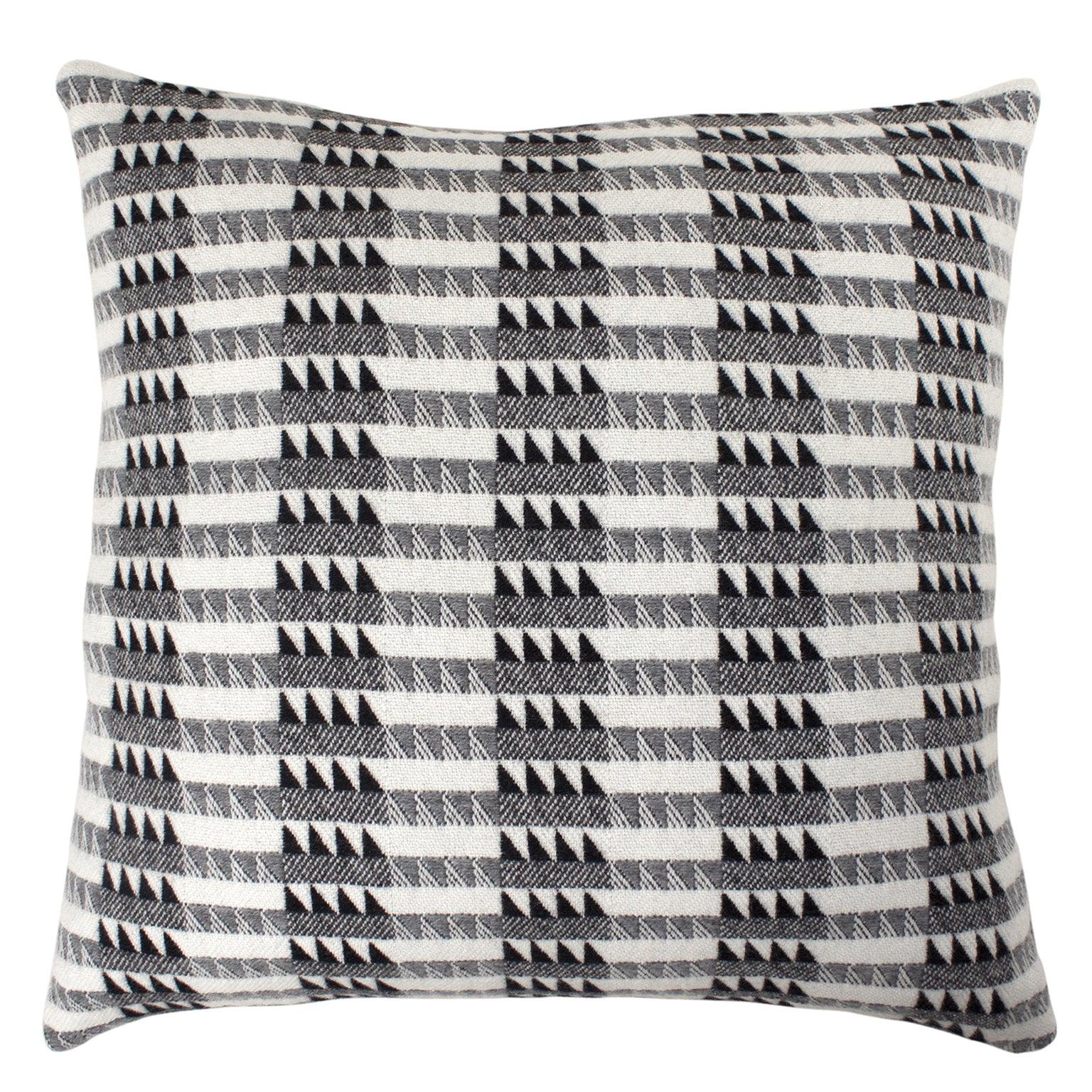 Handwoven 'Ixelles' Geometric Merino Wool Cushion Pillow, Graphite Grey