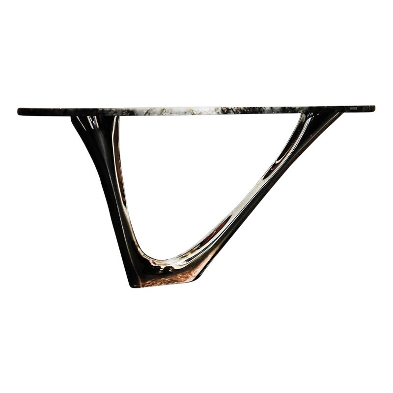 G-Console Table in Gold Stainless Steel and Stone Top, Zieta