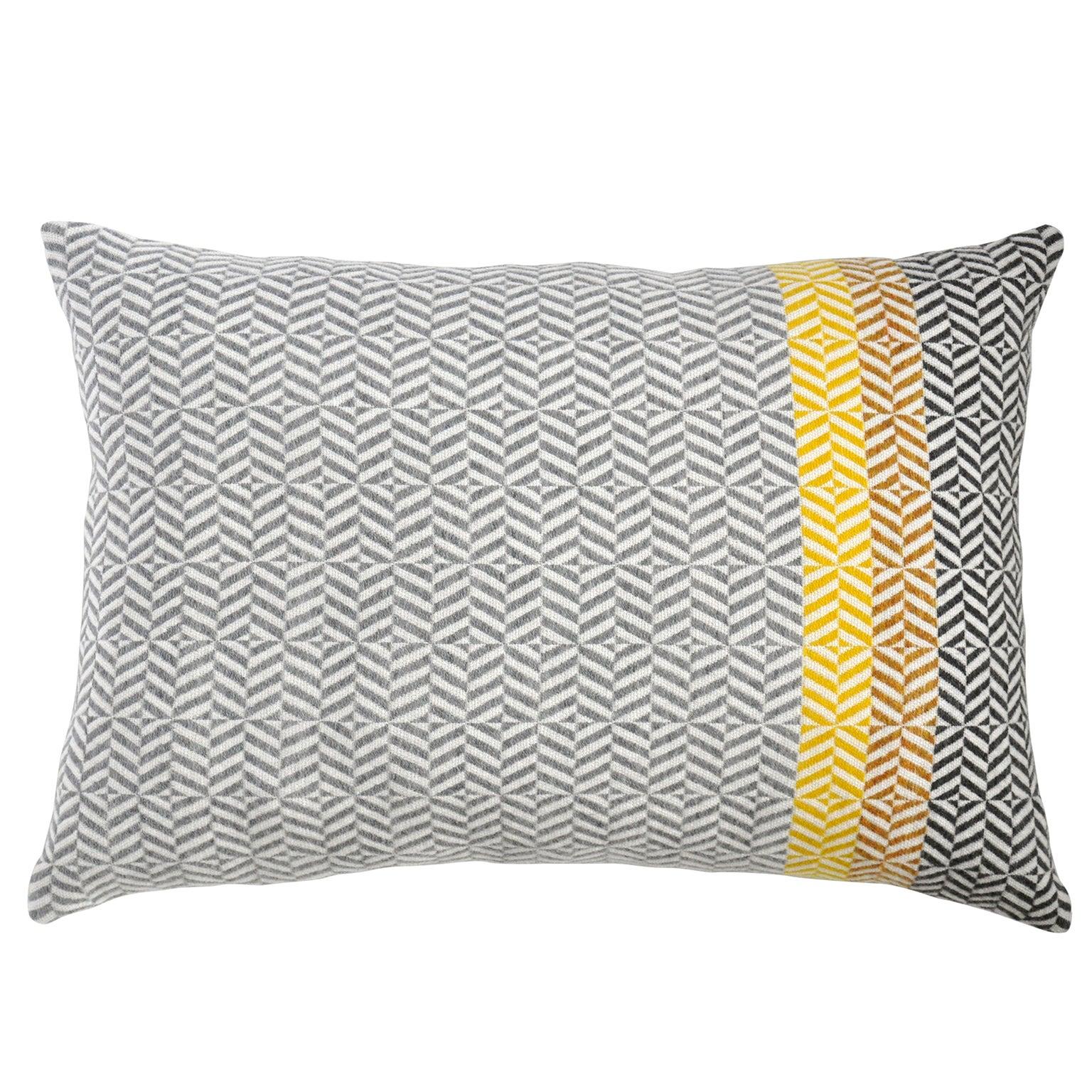 Handwoven 'Uccle' Geometric Large Merino Wool Cushion Pillow, Piccalilli/Greys