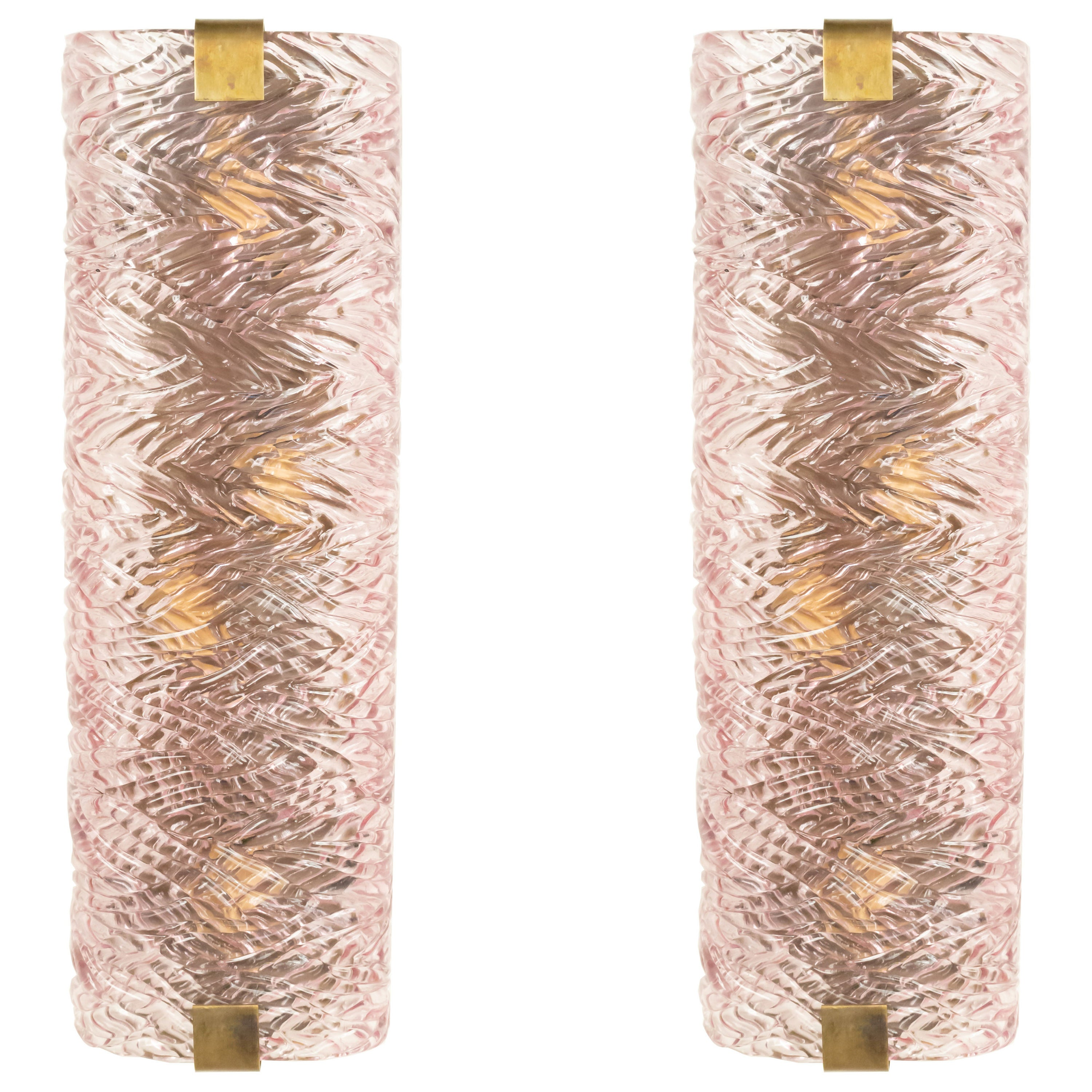Midcentury Italian Cylindrical Pink Texturized Glass Sconces