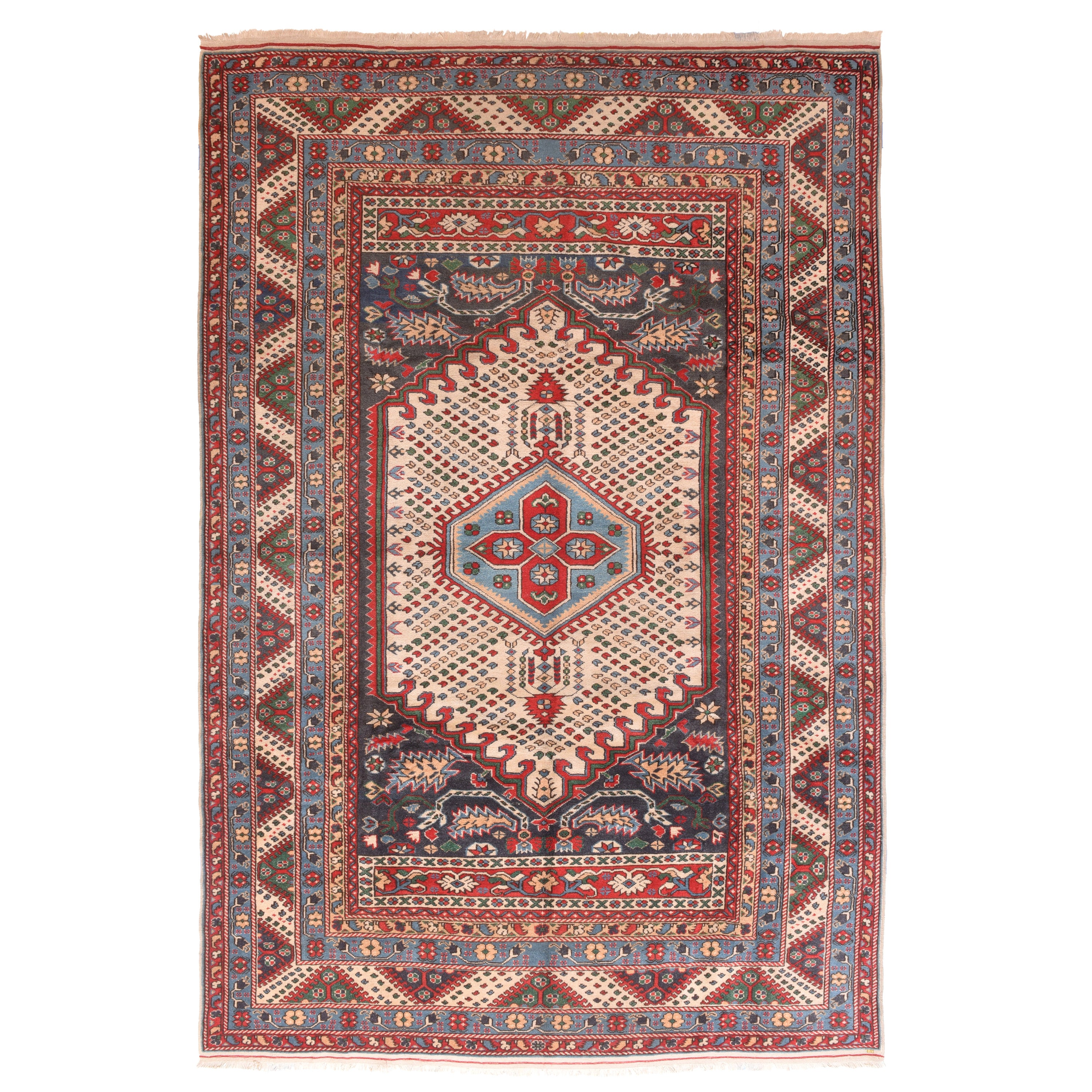 Fine Vintage Shirvan Russian Rug, Hand Knotted, circa 1930s