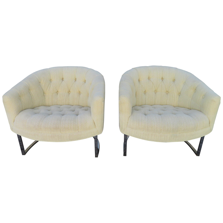 Wonderful Pair of Milo Baughman Style Tufted Barrel Back Chrome Tub Chairs