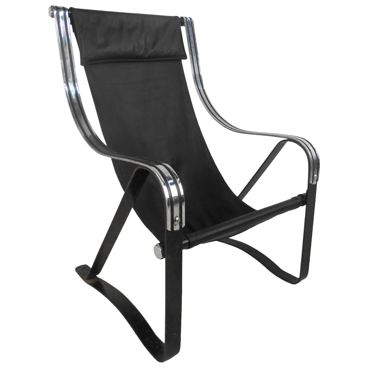 Midcentury Leather Sling Lounge Chair