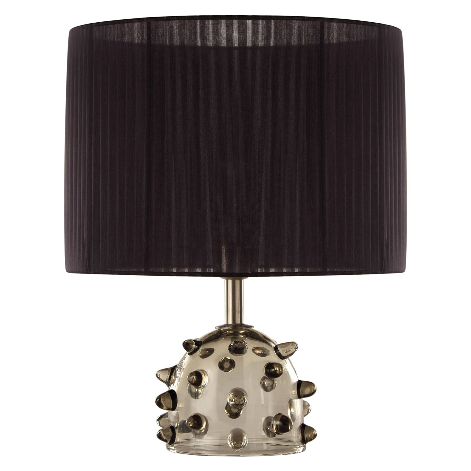 """Artistic Table Lamp Grey Glass, Clear """"Bugne"""" Black Lampshade by Multiforme"""