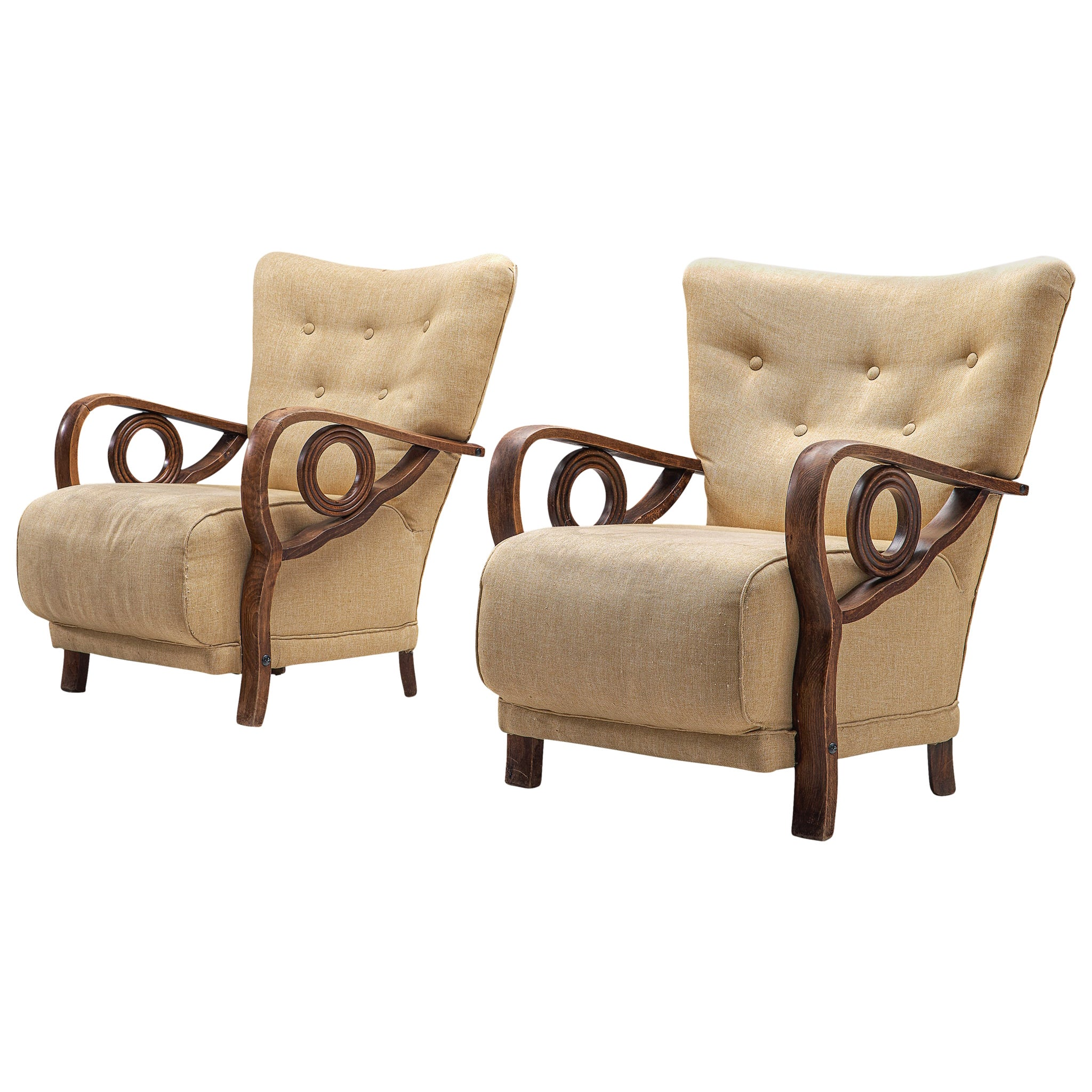 Pair of Art Deco Lounge Chairs in Oak and Fabric