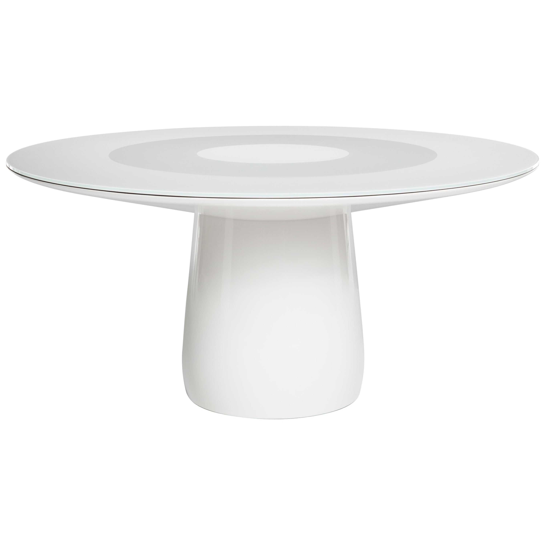 Baleri Italia Roundel Table, White Lacquer and Glass Top, Claesson Koivisto Rune