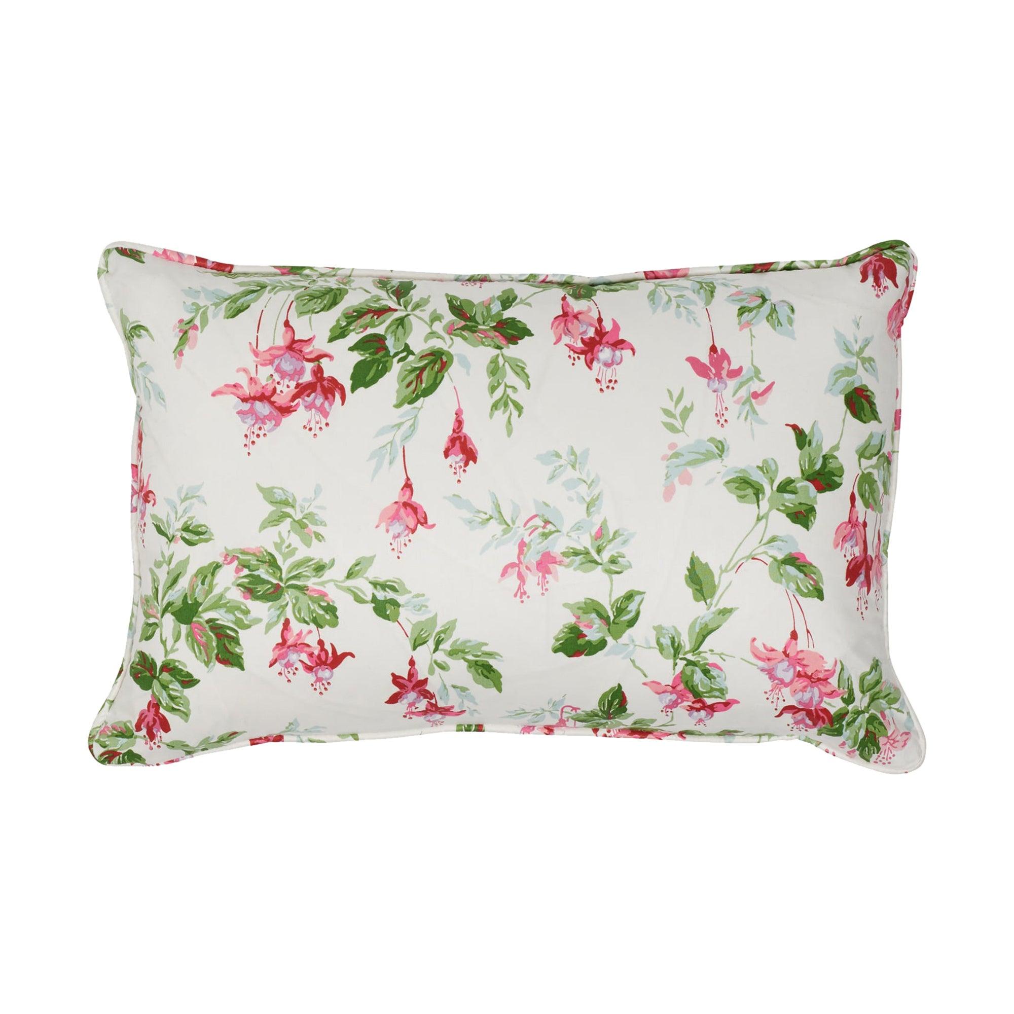 Schumacher Garden Gate Chintz Magenta Cotton Two-Sided Lumbar Pillow