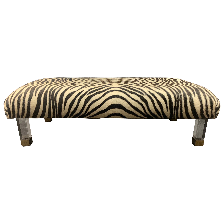 Pair of Modern Zebra Skin Lucite Brass Legs Ottomans Foot Stools Benches