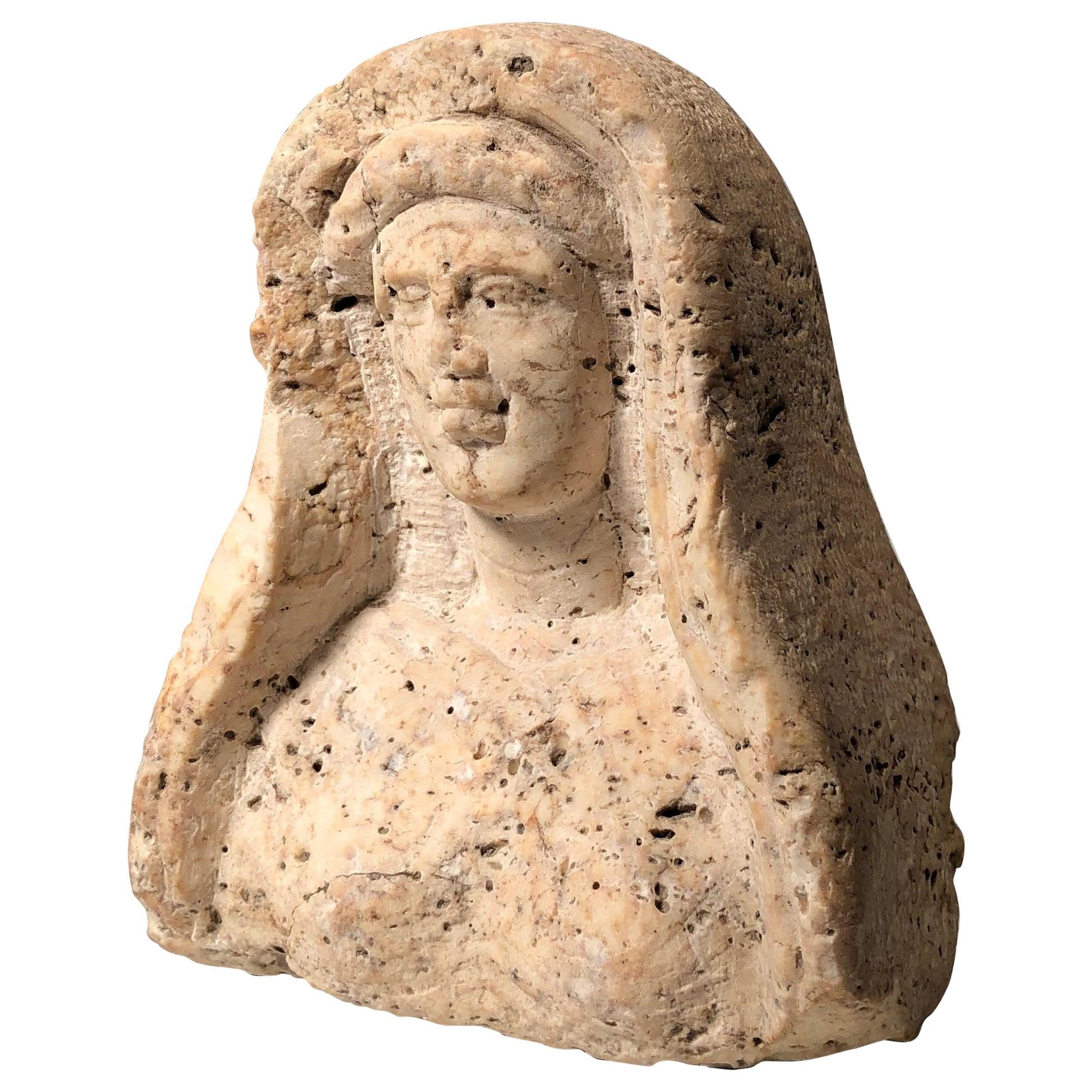 Roman Period, Levantine Travertine Veiled Female Bust