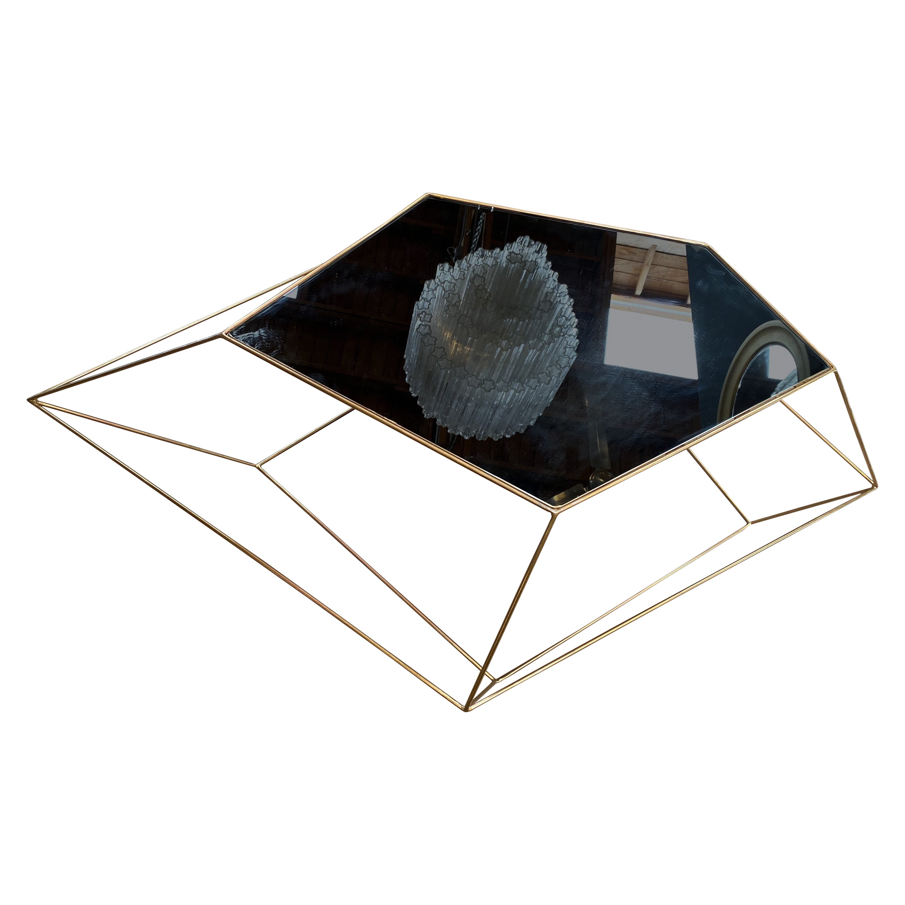 Italian Rhomboidal Sculptural Brass and Glass Coffee Table Italy 1970s