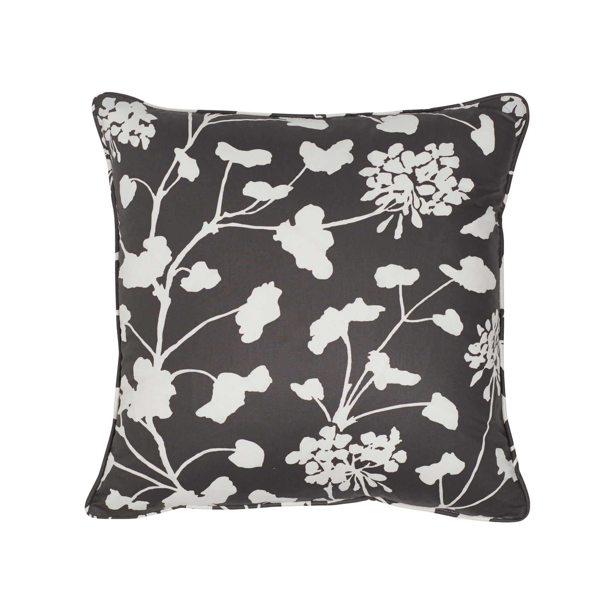 Schumacher Pennick Chintz Black Two-Sided Cotton Pillow