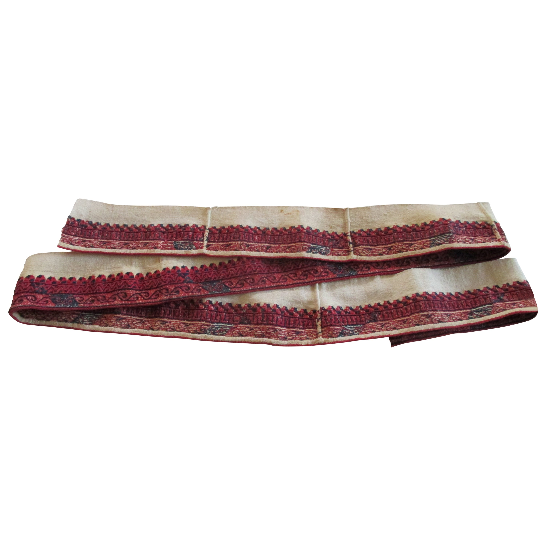 Antique Red and Blue Woven Decorative Linen Trim