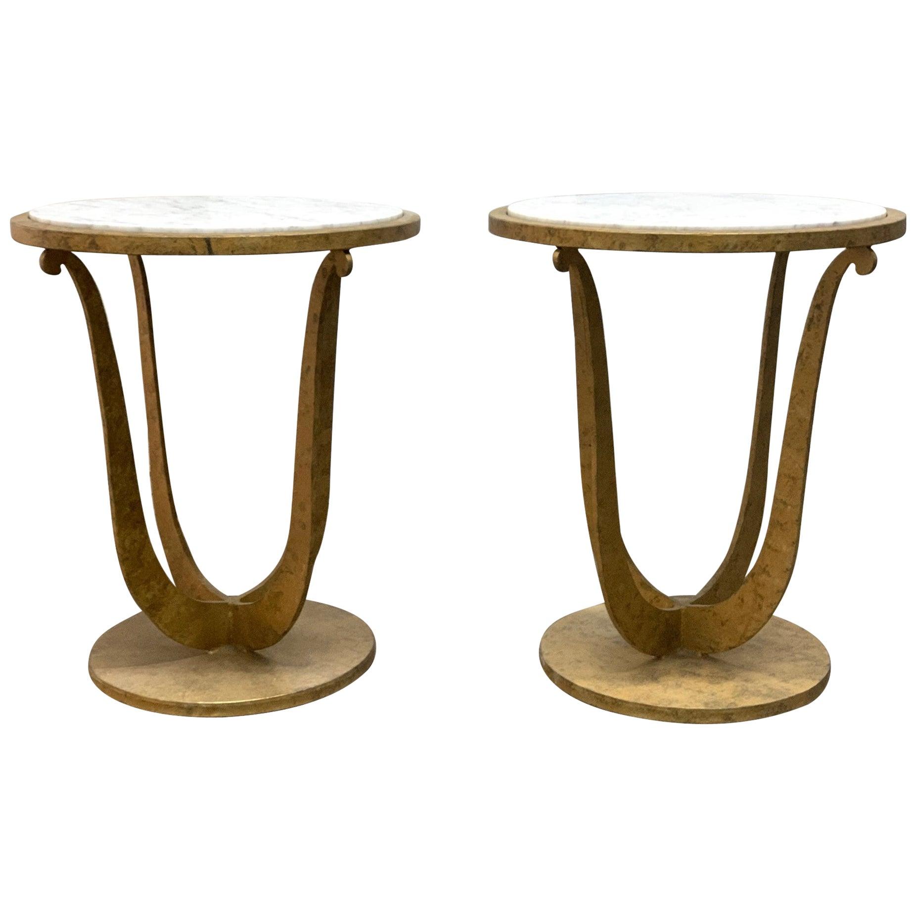 Pair of Gilt Iron and Carrara Marble-Top Gueridon Tables