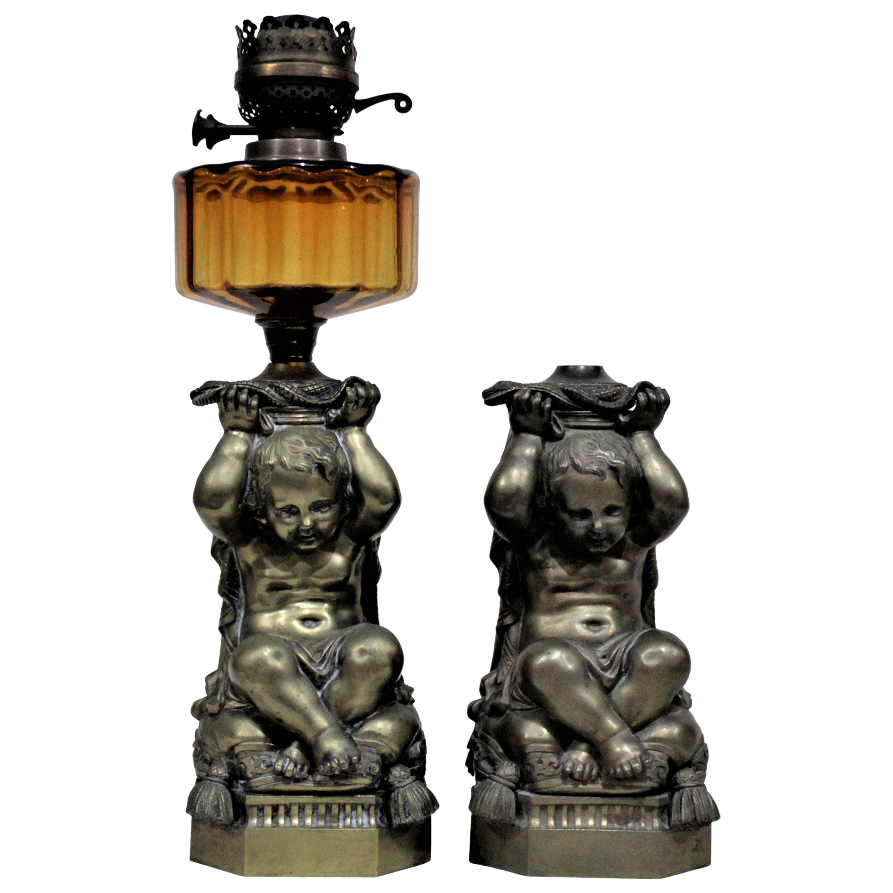 Pair of Victorian Solid Cast Bronze Figural Cherub Oil Lamp Bases Holding Snakes
