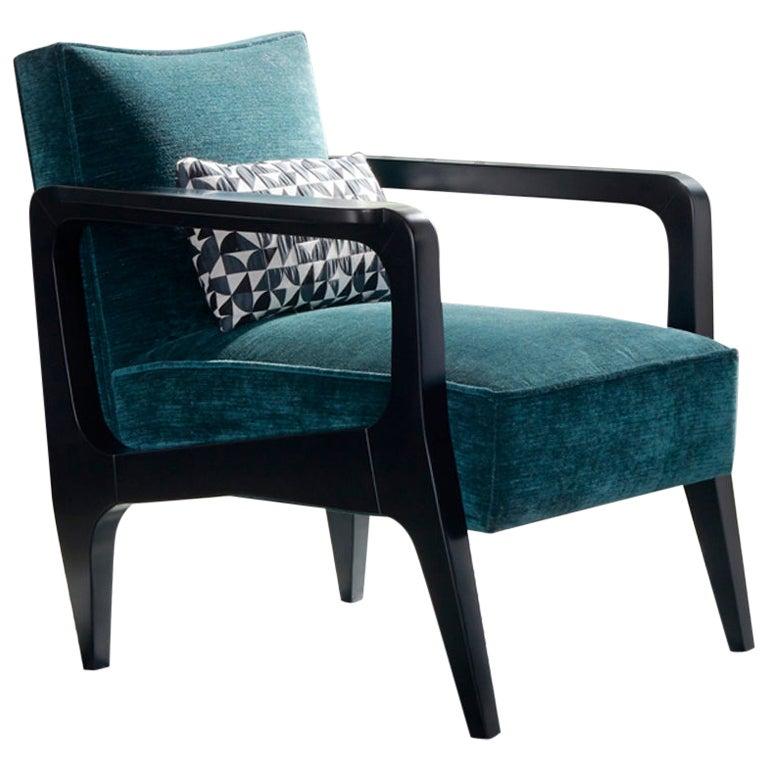 Art Deco Inspired Atena Armchair in Beech Black Ebony & Ribbed Velvet